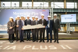 MSC Cruises Executive Chairman Pierfrancesco Vago and CEO of STX France Laurent Castaing cut the first steel of the newly named MSC Virtuosa. Photo credit: Ivan Sarfatti