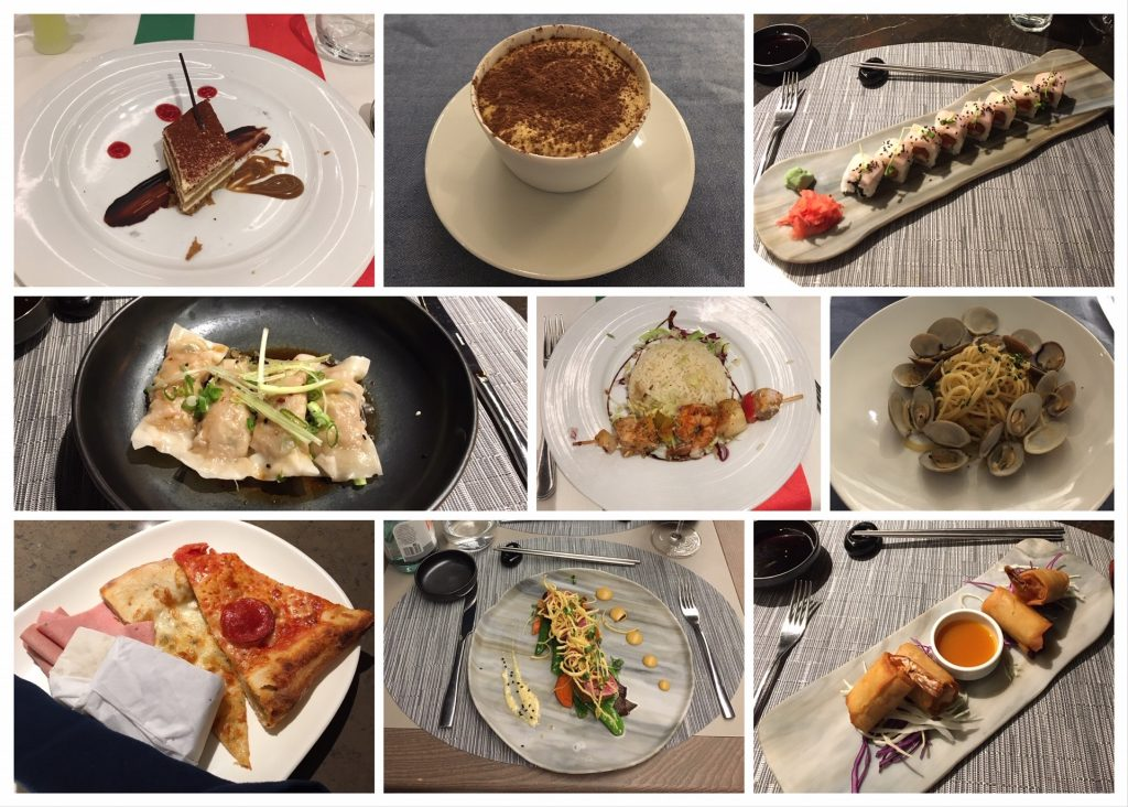 A selection of the meals we had on MSC Seaside